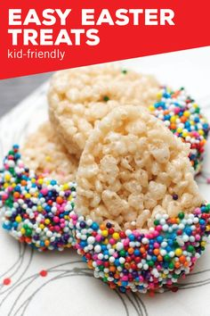Celebrate the season with these Easy Easter Treats. Made with rice cereal, chocolate melts, and rainbow sprinkles, this colorful, themed dessert is simple enough for your kids to help make.