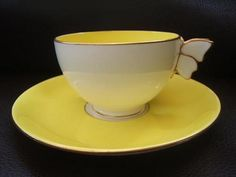 Butterfly handle demitasse cup and saucer Tea Cup Set, My Cup Of Tea, Tea Cup Saucer, Vintage Cups, Vintage Soul, Antique Tea Sets, Yellow Cups, Mellow Yellow, Tea Party