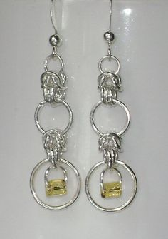 Byzantine Chainmaille Chain Maille Weave and Loop Earrings with Amber Accent, via Etsy.