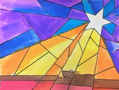 Nativity Star of Light Art Lesson for kids - Leah Newton Art Advent Art Projects, School Art Projects, Projects For Kids, Art Lessons For Kids, Art For Kids, Jesus In A Manger, Nativity Star, Star Template, Color Crayons