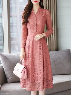 Fashion Trend Site: Buy V Neck Single Breasted Lace Plain Maxi Dress online with cheap prices and di… Trendy Dresses, Simple Dresses, Women's Fashion Dresses, Casual Dresses, Maxi Dresses, Awesome Dresses, Woman Dresses, Kurti Designs Party Wear, Kurti Neck Designs