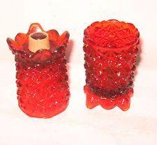 VINTAGE DAISY & BUTTON RED OR AMBERINA PEG TYPE VOTIVE HOLDERS $6.50 BIN