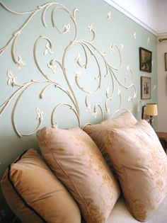 inspiration - raised plaster wall design ~ I LOVE this pretty scrolling design. It could work well on a steeply slanted wall behind the bed. Plaster Art, Plaster Walls, Textured Walls, Diy Wall, Wall Design, Home Projects, Furniture Design, Vintage Furniture, Bedroom Decor