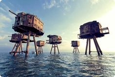 Red Sands World War 2 sea forts off the Kent coast near Herne Bay.