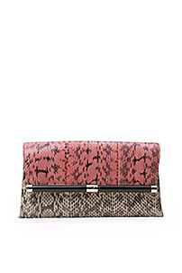 Envelope Colorblock Snake Clutch in Sunkissed/ French Vanilla by DVF