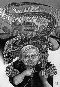 HR Giger Conquest Of Paradise, Antony Gormley Sculptures, Hr Giger Art, Sacred Heart Tattoos, Surreal Artwork, Aliens Funny, Bizarre Art, Alien Vs Predator, Alien Art