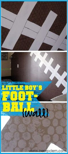 "football feature wall for little boy's room. I love how they used big bubble wrap to get the ""bumps"" on the ""leather""! Genius!"