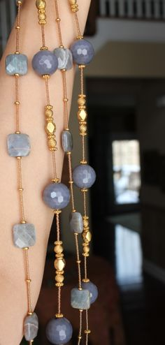 Delicate Layering Necklaces...Grey Agate Labradorite www.fariasiddiqui.com