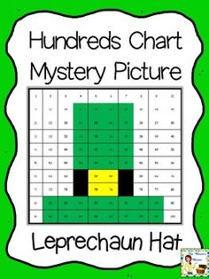Free hundreds chart mystery picture - St. Patrick's Day leprechaun hat - fun practice for number recognition and place value!
