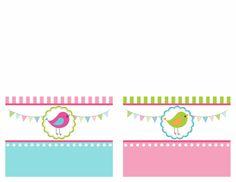 bird birthday party food card printables