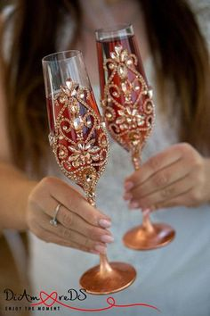 Rose Gold and Crystal Wedding Glasses Champagne Flutes