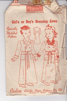 1940s Sewing Pattern Pauline No 5133 Childs by jennylouvintage