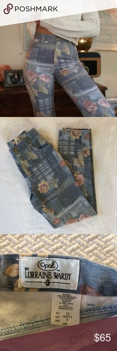 """Vintage Boho High Waisted Floral Jeans Butt hugging and beautiful!!! These boho beauties are nothing short of adorable. Perfect for the free spirited, fashion forward, boho babe that likes to make a statement. Waist across 12.5"""" rise 11"""" inseam 31"""" I am a 4 or 26 they fit me fine! opal Jeans"""