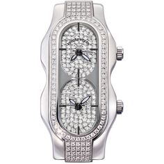 Philip Stein Mini Signature Double Diamond Watch Head (1,532,020 KRW) ❤ liked on Polyvore featuring jewelry, watches, water resistant watches, leather-strap watches, diamond jewelry, diamond dial watches and diamond jewellery