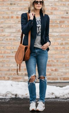 Trendy Fall Outfits Ideas With Blazer Blazer Outfits Casual, Style Outfits, Casual Jeans, Casual Chic, Cute Outfits, Work Casual, Winter Mode Outfits, Trendy Fall Outfits, Spring Fashion Outfits