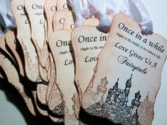 Fairytale Love Wedding Tags,  Favor Tags,  Wish Tree Tags,  Vintage Style - Set Of Five