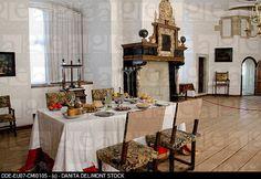 Denmark, Helsingoer. Kronborg Castle aka Kronborg Slot. UNESCO World Heritage Site. Castle interior, dining room.