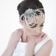 Crystal embellished deco fan bridal headdress by Fabledreams