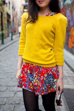 Dress with sweater, bright