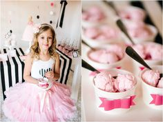 Barbie birthday party by TomKat Studio: ice cream cups with paper bows