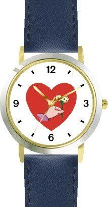 Red Heart - Hand with Flowers - Love & Friendship Theme - WATCHBUDDY® DELUXE TWO-TONE THEME WATCH - Arabic Numbers - Blue Leather Strap-Children's Size-Small ( Boy's Size & Girl's Size ) WatchBuddy. $49.95