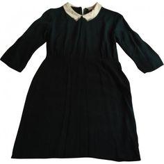 DRESS SANDRO ($158) ❤ liked on Polyvore featuring dresses, back zipper dress, sandro dress, green dress and sandro