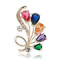 Dames Broches Kristal Synthetische Diamant Bloemen Klassiek Modieus Kristal Gesimuleerde diamant Legering Sieraden Voor Dagelijks Formeel