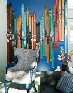 I love this ski wall that Home by Novogratz put in Tony Hawk's Ski House