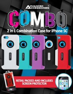 We have the perfect case for your iPhone 5C. This combo case is made of two layers of impact protection: a flexible silicone core and a hard exterior shell. These layers work together to keep your phone looking as good as new. With custom cutouts for the phone, you can access all ports, buttons, and the camera without having to remove the case. Best of all, this case comes in a variety of awesome hues, so you can add even more color to your already colorful phone.