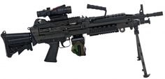 M249 SAW Paratrooper - this one features components of the Product Improvement Package (PIP), including the new telescoping stock, heat shield, and RIS handguard, and is also fitted with an ACOG scope and a 100-round woodland camo cloth ammo bag - 5.56x45mm (Used in the movie The Island 2005)