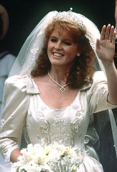 Sarah Margaret Ferguson (1959-living2013) UK in her wedding dress in 1986.  She is the Ex-Wife of Prince Andrew (Andrew Albert Christian Edward) (1960-living2013) Duke of York, UK (married in 1986 & divorced in 1996). Sarah is 2nd Child of Major Ronald Ivor Ferguson (1931-2003) UK & his 1st wife Susan Mary Wright (1937-1998) UK.