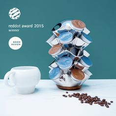 Ridge Carousel by Alvaro Uribe Design Coral Reefs, Instant Coffee, Acacia Wood, Footprint, Countertop, Coffee Cups, Base, Stainless Steel, Inspired