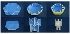 Folding 3-D structures with 4, 5, and 6 creases. (Credit: Chen et al. / Cambridge University archive)