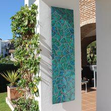 wall art made from ceramic - mosaic art - garden wall art - Jungle leaves