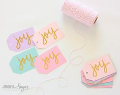 Joy Christmas Gift Tags - A Spoonful of Sugar @silhouettepins