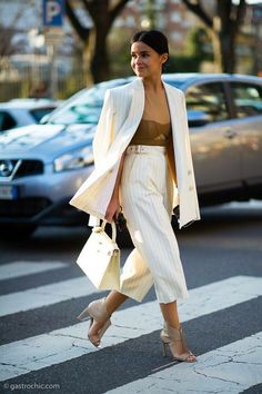 The always perfect Miroslava Duma: a camel sexy bodie, white blazer and culottes trousers with stripes and sandals, Love it!❤️