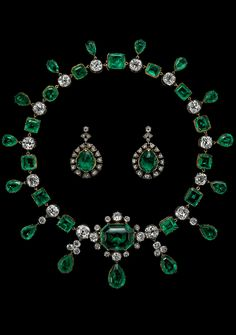 Emeralds of Empress Ekaterina II of Russia. C. 1830. Gold, silver, emeralds, diamonds. Set consisting of an emerald and diamond necklace with matching earrings. Every generation of the family of the Marquis of Lothian has believed that the majority of these emeralds were given by the Empress Ekaterina II to their ancestor, the Earl of Buckinghamshire during his embassy to St. Petersburg 1762-1765.