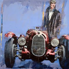 Stories and photos of classic automobiles, trucks, tractors and a motorcycle or two throughout the world. Alfa Romeo, Photo D Art, Car Illustration, Car Posters, Vintage Race Car, Car Drawings, Car Painting, Sports Art, Poster Vintage