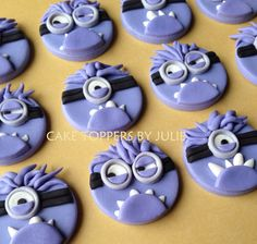 12 Purple Minion Toppers