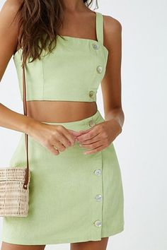 Product Name:Button-Front Crop Top, Category:top_blouses, Picnic Outfits, Summer Outfits, Summer Shorts, Crop Top Outfits, Cute Outfits, Fashionable Outfits, Dressy Outfits, Work Outfits, Diy Crop Top
