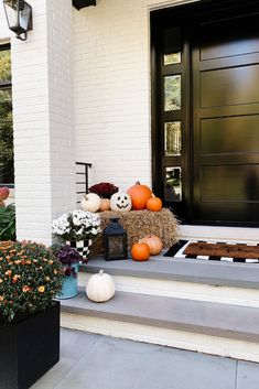 My Kind Of Sweet Home   Fall Front Porch - my kind of sweet   home decor   fall decor   home design   front door   mums   front porch   black front door   fall porch #falldecor #homedecor #blackfrontdoor #fallporch #exteriorhome #exteriordesign #frontporch #mums Black Front Doors, Painted Front Doors, Decorating Blogs, Front Porch, Exterior Design, Fall Decor, Cool Style, Sweet Home, House Design