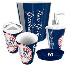 new york yankees mlb complete bathroom accessories 5pc set httpwwwsportstation