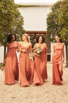 Bridesmaid Dresses Different Colors, Summer Bridesmaid Dresses, Burnt Orange Bridesmaid Dresses, Bridesmaid Color, Fall Wedding Bridesmaids, Fall Wedding Dresses, November Wedding Colors, Summer Wedding Colors, Orange Wedding