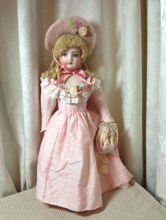 """Antique Reproduction Bisque Early Bru French Fashion Doll Damaris Alves 15"""" 