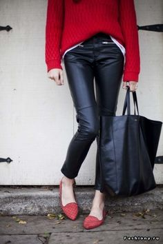 Black leather pants and red flats