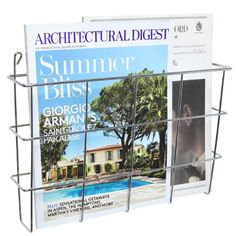 Modern Wall Mounted Silver Metal Magazine Storage Basket / Hanging Office File Document Holder / Newspaper Rack