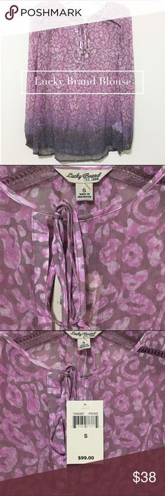 Lucky Brand Blouse Pink Purple design Small NWT New with tag Lucky Brand flowy Blouse. 100% rayon. Lucky Brand Tops Blouses