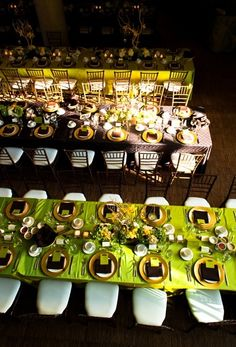 Alternating lime green and chocolate brown gallery style tables Wedding Mehndi, Wedding Reception, Wedding Ideas, Place Settings, Table Settings, Harvest Tables, Mehndi Decor, Ballet School, Centerpieces