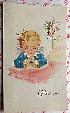 Vintage 1950s Eve Rockwell Christmas Card with Cute Little Girl Angel Praying