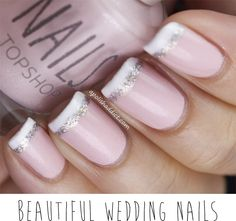 We love this play on a french tip, add a little sophisticated sparkle to your wedding day nails! #BBBInspired